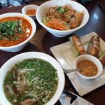 Beef satay soup, shrimp noodles