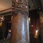 wood columns in lobby