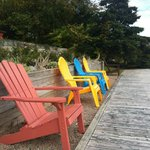 Colorful chairs on the back deck