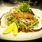 Laurieton Hotel Bistro's Seared Atlantic salmon with Soba noodle salad and citrus jus.
