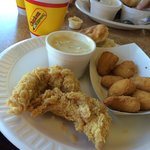 2 piece tenders, corn nuggets, biscuit and gravy