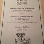 Typical childrens menu