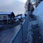 The path up to the hotel from the village - good for legs workout, not great carrying skis!