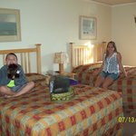 Our room with the stuffed buffalo