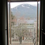 View of courthouse and mountain from French doors