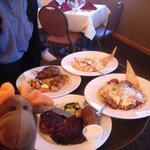 Look at the food! Delmonico Steak, Chicken Parm, Scallops, and Shrimp Scampi. All delicious and