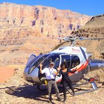 Our Pilot Miguel and I after landing at Grand canyon west