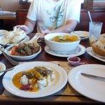 Pork adobo, garlic rice, kare kare, lumpia and pork tamarind soup