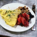 My fabulous breakfast with dairy free omelet and home made granola!