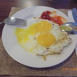 sunny-side up you can get from egg station in the restaurant