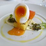 Entree - Duck egg & salmon
