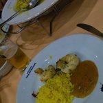 Filet de lagosta, arroz com açafrão e pirão