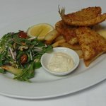 Whiting, chips and salad.