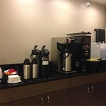 Coffee, tea and water are all available 24/7. That is awesome for late night refreshment