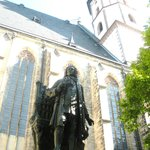 Bach's statue by Leipzig sculptor Carl Seffner that stands next to the church was dedicated in 1