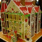 Gingerbread house display in the lobby for Christmas season