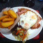 gammon with fried eggs