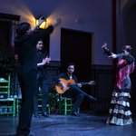 The performers return to the stage for photos - La Casa del Flamenco