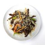Shredded beef with Peking sauce
