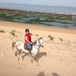 Riding with equievasion.com on the beach at Jiabatt (Essaouira)