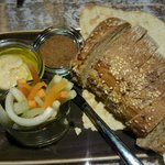 Breads and hummus in the restaurant