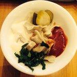 Veg dumplings and pickled veg