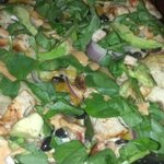 This was the flatbread pizza. Avocado, chicken, spinach, onions (cant remember the exact name)