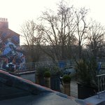 View of roof terrace from our bathroom window