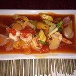 Тайское: Креветки в кисло-сладком соусе