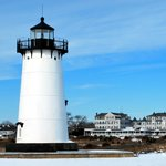 Edgartown Ligthouse with the Harbor View Hotel in the background