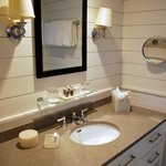 Downstairs Bathroom Vanity in the Captain Jason Luce Cottage