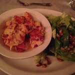 Buttered Lobster roll sans bun with a side salad.