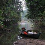 The long-tailed sampan parked at Sungai Jawa