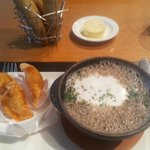 Wild Mushroom Soup with toasted chorizo ravioli