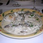 Mahi mahi with crab meat, mushrooms, and cream...yum!