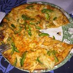 The chicken and green pepper pizza