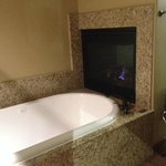 Gas fireplace visible from tub.