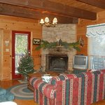 Comfortable living space with seasonal decorations