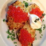 Corn fritters with salmon roe & creme fresh