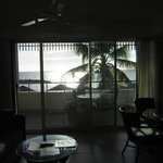 view from room to balcony and beach