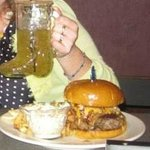 HUGE BURGER and sweetshine cocktail in a boot glass