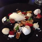 Chocolate brownies, meringues, toffee popcorn, honeycomb, blueberries, strawberries, cream and r