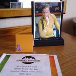 Our special request for a photo of Captain Kirk in our room was fulfilled by the good-humored st