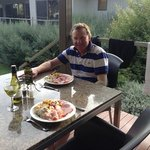 relaxing dinner on the deck