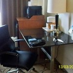 Comfortable desk & chair, fridge & microwave