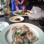 Lobster ravioli and chicken marsala with oil and bread