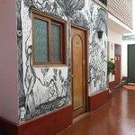 Patio interno del hostel