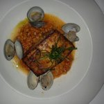 Barbeque Swordfish with clams and rock shrimp
