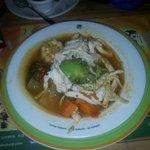 Verdura soupe with chicken. 56 pesos. Delicious!