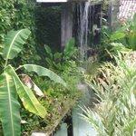 """Fonte gigante no jardim interno. Dormir com o som das águas é """"algo""""."""
